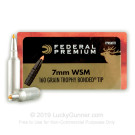 7mm Win Short Mag - 160 Grain Nosler Trophy Bonded Tip - Federal Vital-Shok - 20 Rounds