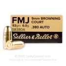 380 Auto - 92 Grain FMJ - Sellier & Bellot - 1000 Rounds