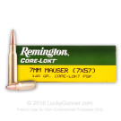 7x57 Mauser - 140 gr PSP - Remington Core-Lokt - 20 Rounds