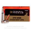 270 WSM - 130 Grain Trophy Copper PT - Federal Vital-Shok - 20 Rounds