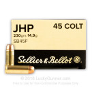 45 Long Colt - 230 Grain JHP - Sellier & Bellot - 50 Rounds