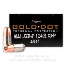 9mm - +P - 124 gr JHP - Speer Gold Dot  - 20 Rounds