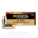 40 S&W - 180 Grain Hydra Shok JHP - Federal Law Enforcement - 1000 Rounds