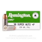 38 Super - +P 130 Grain MC - Remington UMC - 500 Rounds