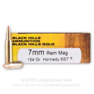 7mm Remington Mag - 154 Grain Hornady SST Polymer Tip - Black Hills Gold - 20 Rounds