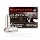 41 Remington Mag - 240 Grain Platinum Tip JHP - Winchester Platinum Tip - 20 Rounds
