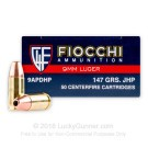9mm - 147 Grain JHP - Fiocchi - 1000 Rounds