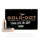 10mm Auto - 200 Grain JHP - Speer Gold Dot - 20 Rounds