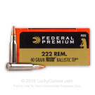 222 Remington - 40 gr Nosler Ballistic Tip - Federal Premium - 20 Rounds