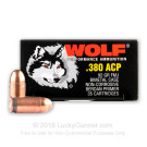 380 Auto - 92 Grain FMJ - Wolf Performance - 1680 Rounds