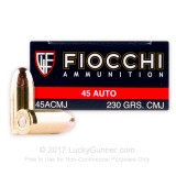 Image of 45 ACP Ammo For Sale - 230 Grain CMJ Ammunition in Stock by Fiocchi - 500 Rounds