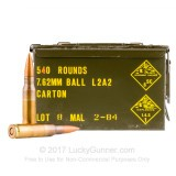 Image of Bulk 308 Win Ammo For Sale - 146 Grain FMJ Ammunition in Stock - Malaysian Military Surplus Ammo - 540 Rounds