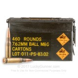 Image of Bulk 7.62x51mm Ammo For Sale - 146 Grain FMJ Ammunition in Stock by PMC Surplus Ammo Can - 460 Rounds