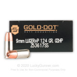Image of Premium 9mm +P Ammo For Sale - 124 Grain JHP Ammunition in Stock by Speer LE Gold Dot Duty - 50 Rounds