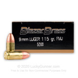 Image of Bulk 9mm Ammo for Sale - 115 gr FMJ - CCI Blazer Brass - 1000 rounds