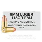 Image of Bulk 9mm Ammo For Sale - 115 Grain FMJ Ammunition in Stock by Blazer Brass Training - 1000 Rounds
