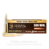Image of 308 Win Sierra MatchKing Federal Premium 168 grain hollow point boat tail ammunition