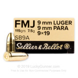 Image of Bulk Sellier & Bellot 9mm Ammo for Sale - 115 gr FMJ (1000 Rounds)