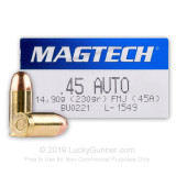 Image of 45 ACP Ammo - 230 gr FMJ - Magtech Ammunition - 1000 Rounds