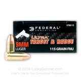 Image of Bulk 9mm Ammo For Sale - 115 Grain FMJ Ammunition in Stock by Federal Ultra - 1000 Rounds