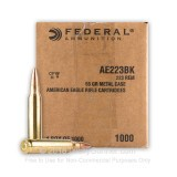 Image of Bulk 223 Rem Ammo For Sale - 55 gr FMJBT Ammunition In Stock by Federal American Eagle - 1000 Rounds