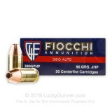 Image of 380 Auto Ammo In Stock - 90 gr JHP 380 ACP Ammunition by Fiocchi For Sale - 1000 Rounds