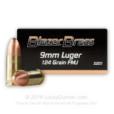 Image of Bulk 9mm Ammo - 124 grain FMJ - Blazer Brass For Sale