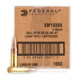 Image of Bulk 5.56x45mm AR-15 Ammo For Sale - 55 gr FMJBT Ammunition In Stock by Federal