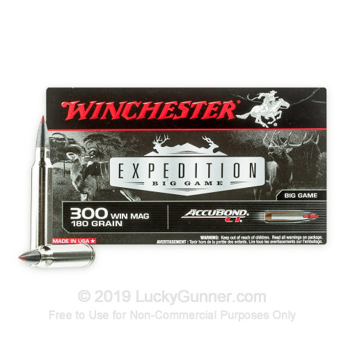 300 Winchester Magnum - 180 Grain Polymer Tip - Winchester Expedition Big  Game - 20 Rounds