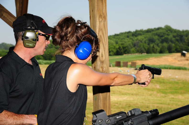 Kacie B is shooting the latest 9mm pistol out of Switzerland, the Sphinx 3000 9mm Compact